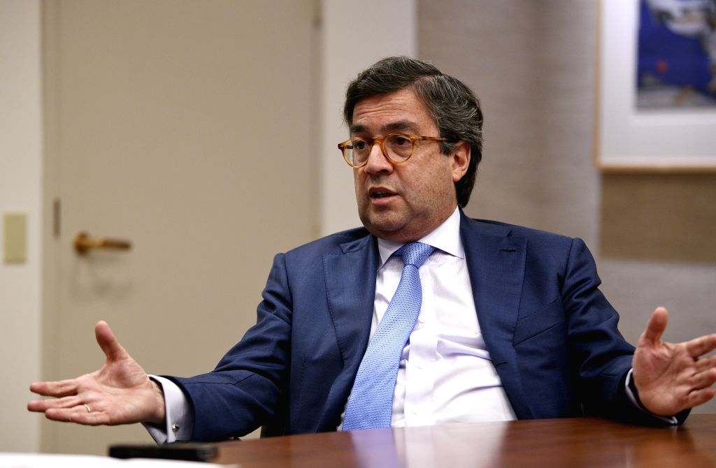 WASHINGTON D.C., April 25, 2019 - Luis Alberto Moreno, president of the Inter-American Development Bank (IDB), receives an interview with Xinhua at the headquarters of the IDB in Washington D.C., the ...