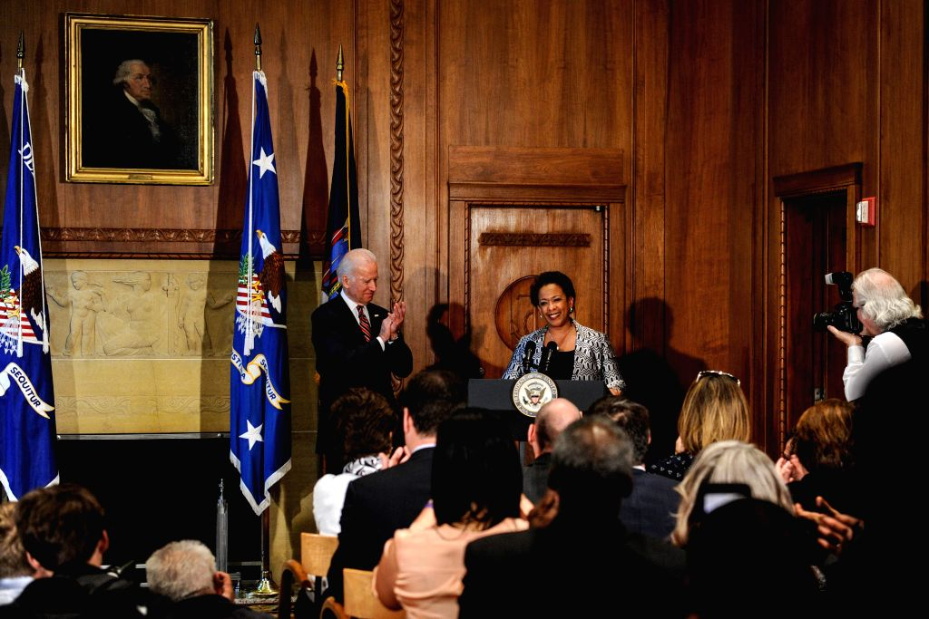 Loretta Lynch (R), the 83rd Attorney General of the United States, speaks after Swearing-in at the Department of Justice in Washington D.C., capital of the ...