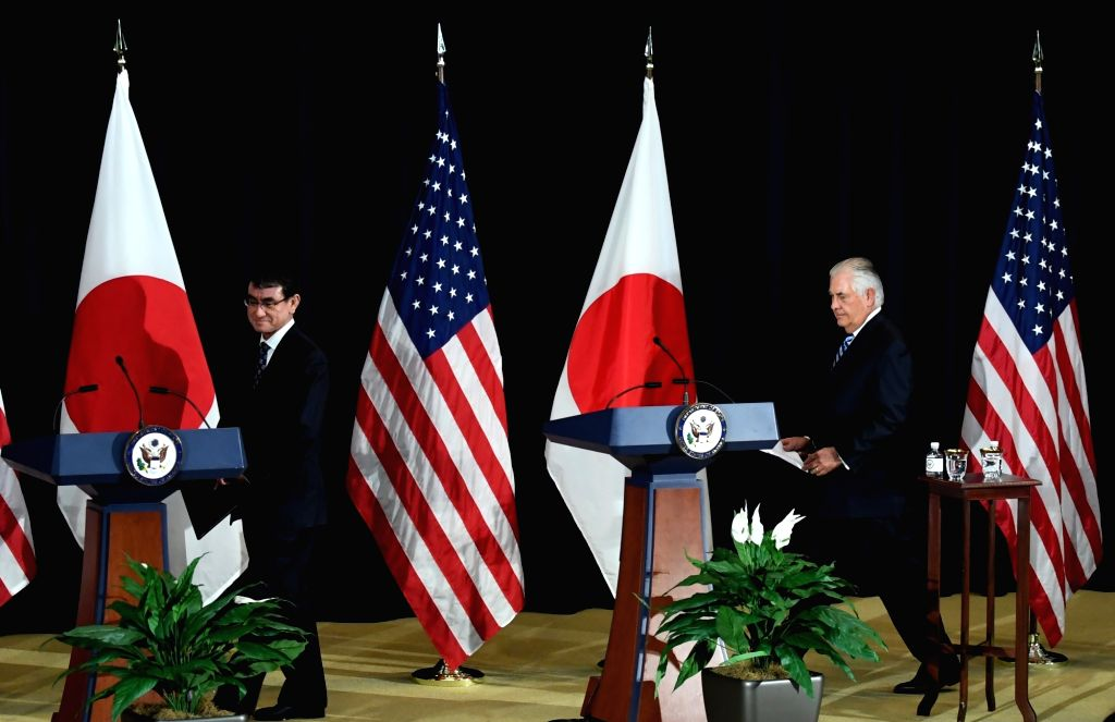WASHINGTON D.C., Aug. 18, 2017 - U.S. Secretary of State Rex Tillerson (R) and Japanese Foreign Minister Taro Kono arrive for a joint press conference at the State Department in Washington D.C., the ... - Taro Kono