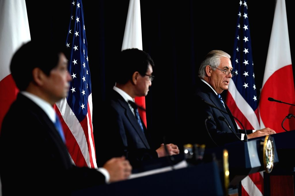 WASHINGTON D.C., Aug. 18, 2017 - U.S. Secretary of State Rex Tillerson (R) speaks during a joint press conference with Japanese Defense Minister Itsunori Onodera (L) and Foreign Minister Taro Kono at ... - Itsunori Onodera