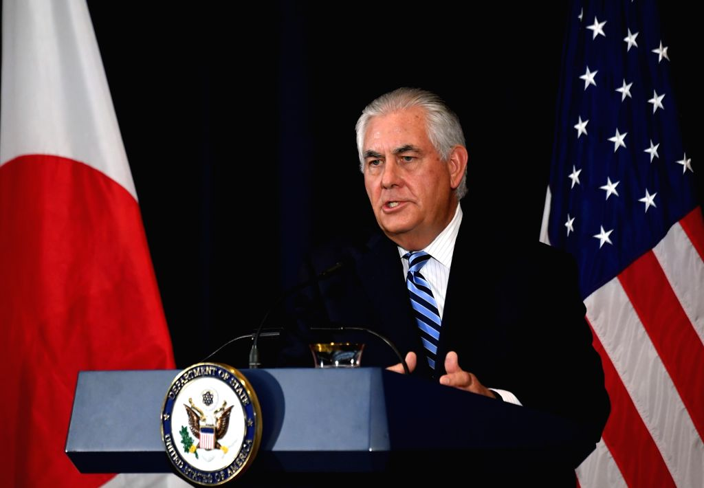 WASHINGTON D.C., Aug. 18, 2017 - U.S. Secretary of State Rex Tillerson speaks during a joint press conference with visiting Japanese officials following their meeting at the State Department in ...