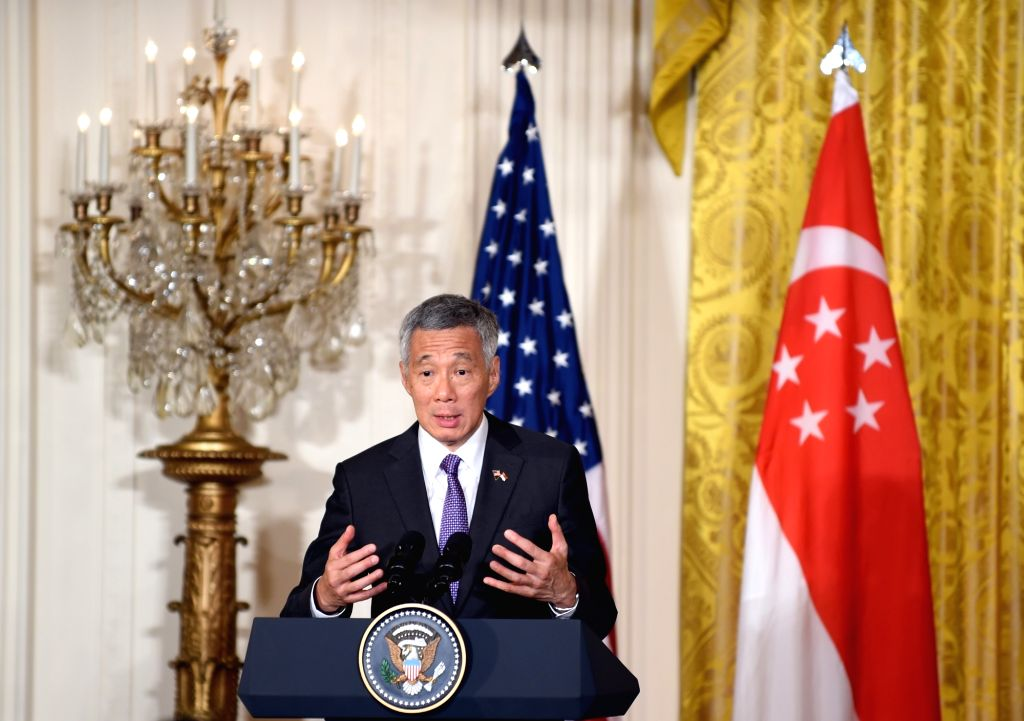 WASHINGTON D.C., Aug. 2, 2016 - Prime Minister of Singapore Lee Hsien Loong speaks during a joint press conference with U.S. President Barack Obama (not seen) at White House in Washington D.C., ... - Lee Hsien Loong