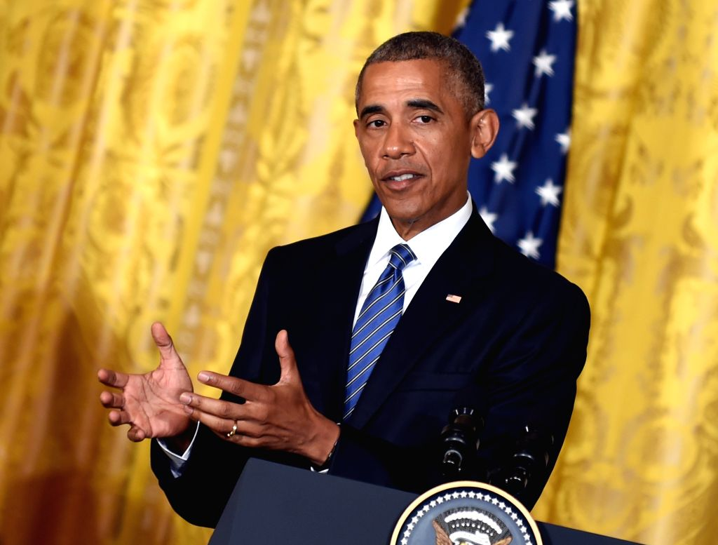 WASHINGTON D.C., Aug. 2, 2016 - U.S. President Barack Obama speaks during a joint press conference with Prime Minister of Singapore Lee Hsien Loong (not seen) at White House in Washington D.C., ... - Lee Hsien Loong