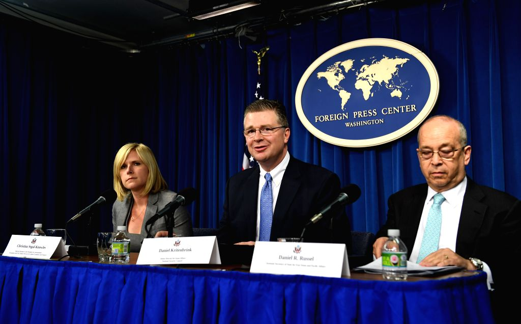 WASHINGTON D.C., Aug. 31, 2016 - Daniel Kritenbrink (C), senior director for Asian affairs at the U.S. National Security Council, White House National Security Council adviser Christina Segal-Knowles ...