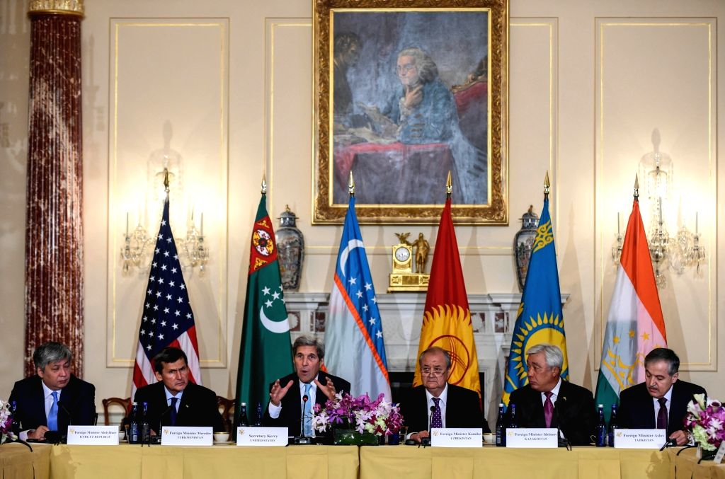 WASHINGTON D.C., Aug. 4, 2016 - U.S. Secretary of State John Kerry (3rd L) speaks at the second U.S.-Central Asia (C5+1) foreign ministerial meeting, which is also attended by foreign ministers from ...
