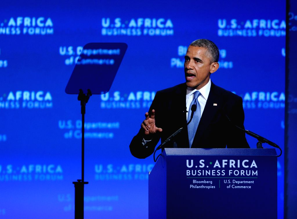 U.S. President Barack Obama speaks during the business forum of the first U.S.-Africa Summit in Washington D.C., capital of the United States, Aug 5, 2014. ..