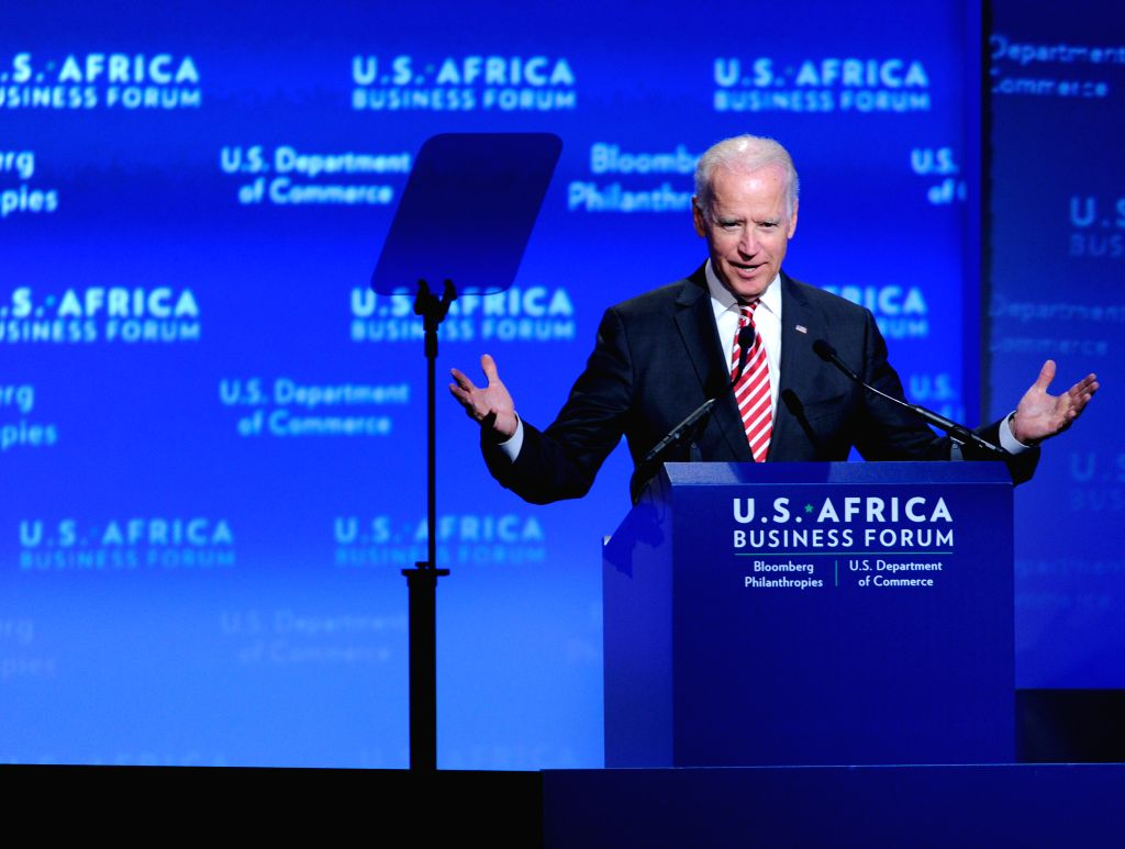 U.S. Vice President Joe Biden speaks during the business forum of the first U.S.-Africa Summit in Washington D.C., capital of the United States, Aug 5, 2014.