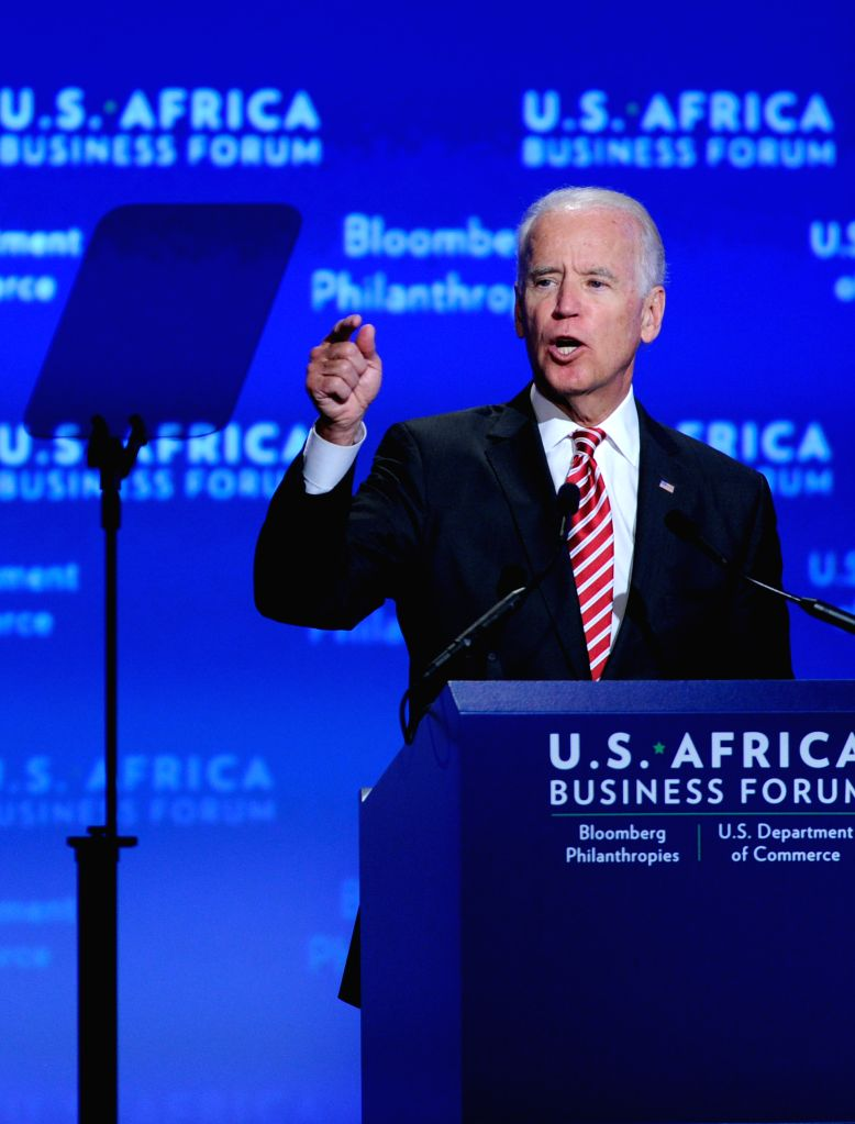 U.S. Vice President Joe Biden speaks during the business forum of the first U.S.-Africa Summit in Washington D.C., capital of the United States, Aug. 5, ...