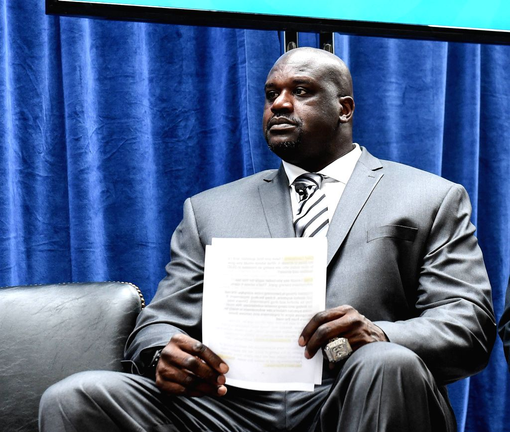 """WASHINGTON D.C., Dec. 1, 2016 - Former NBA star Shaquille O'Neal waits to speak as he attends a panel discussion on """"Drug-Impaired Driving: The Challenges Facing Law Enforcement"""" as a ..."""