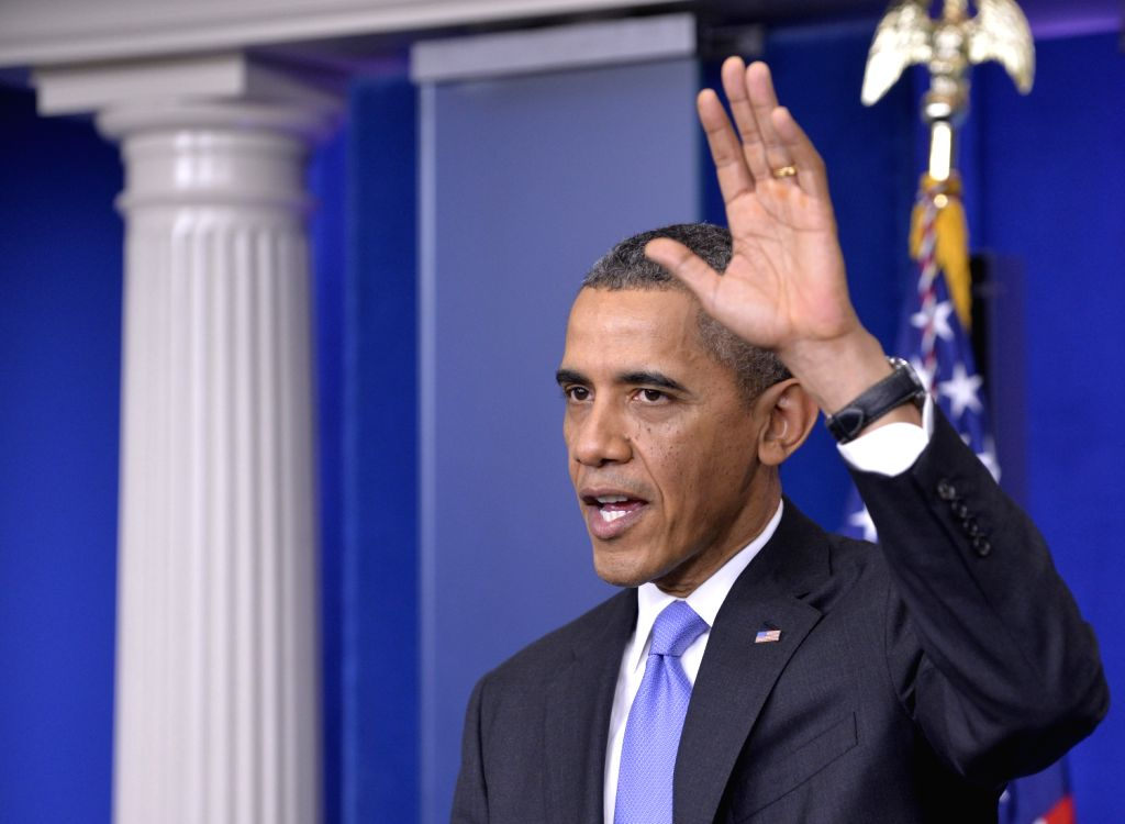 U.S. President Barack Obama hosts the year-end press conference in the Brady Briefing Room of the White House in Washington D.C., capital of the United