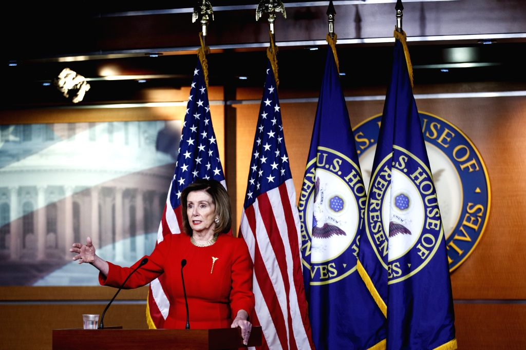 WASHINGTON D.C., Dec. 20, 2019 (Xinhua) -- U.S. House Speaker Nancy Pelosi addresses a press conference on the Capitol Hill in Washington D.C. on Dec. 19, 2019.   Nancy Pelosi said on Thursday that she would delay the delivery of impeachment articles - Nancy Pelosi