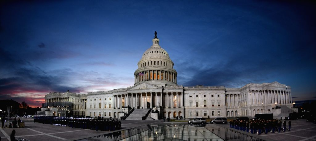 WASHINGTON D.C., Dec. 4, 2018 - Photo taken on Dec. 3, 2018 shows the view of the U.S. Capitol, where the casket of late U.S. President George H.W. Bush will lie in state, in Washington D.C., the ...