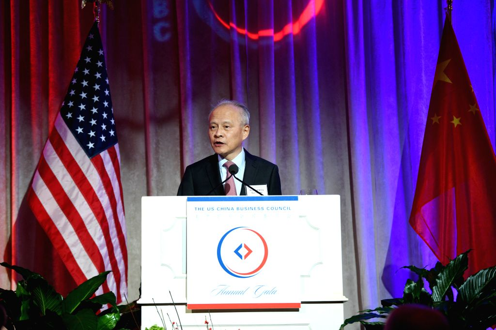 WASHINGTON D.C., Dec. 6, 2019 - Chinese Ambassador to the United States Cui Tiankai speaks at a gala dinner held by the U.S.-China Business Council in Washington D.C., the United States, on Dec. 4, ...