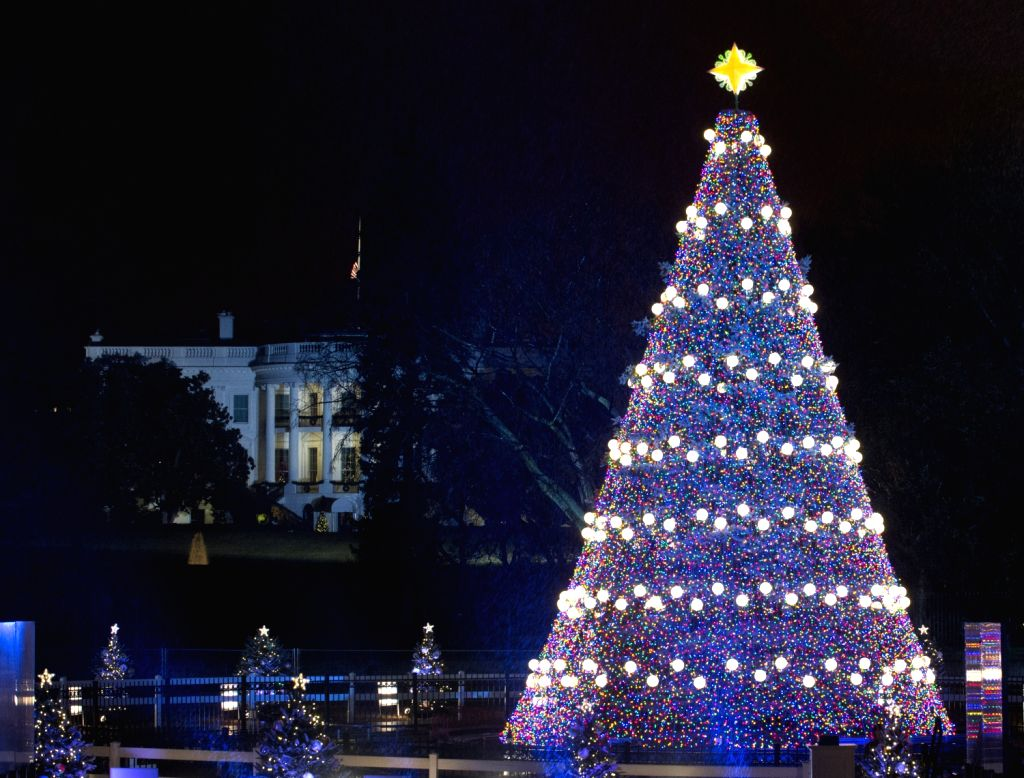 The National Christmas Tree is lighted during a ceremony on the Ellipse south of the White House in Washington D.C., capital of the United States, Dec. .