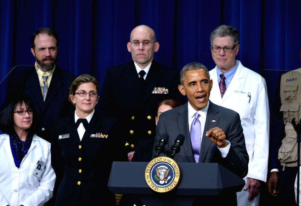 U.S. President Barack Obama speaks about the progress made to date and further action to take on Ebola outbreak in West Africa, at the Eisenhower Executive .