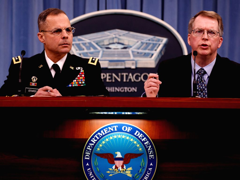 WASHINGTON D.C., Feb. 13, 2018 - Under Secretary of Defense (Defense Department Comptroller) David Norquist (R) speaks during a press briefing regarding the fiscal year 2019 defense budget request at ...
