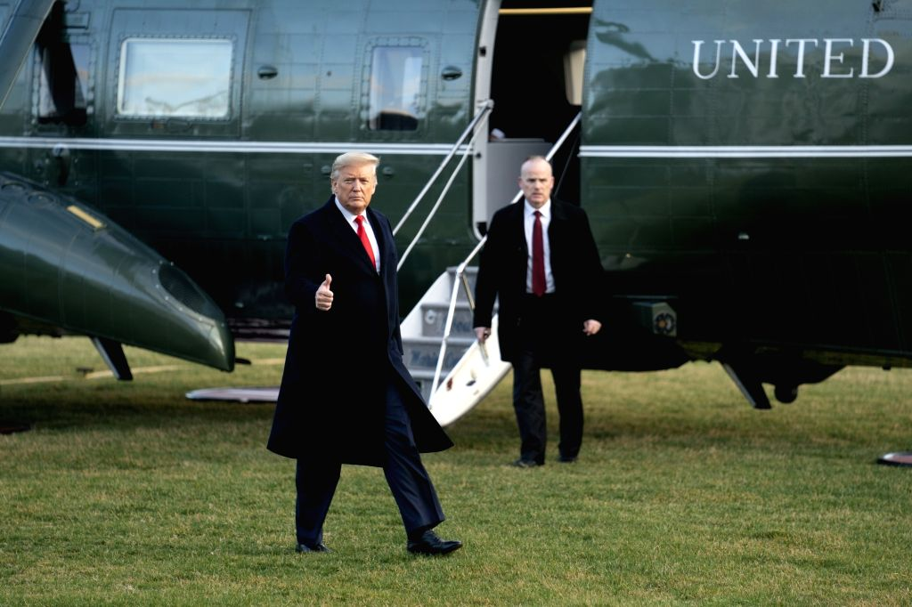 WASHINGTON D.C., Feb. 8, 2020 U.S. President Donald Trump walks on the South Lawn as he returns from North Carolina at the White House in Washington D.C., the United States, Feb. 7, 2020. ...