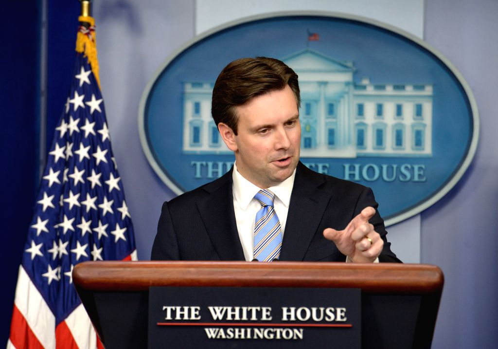 White House spokesman Josh Earnest speaks during a briefing at the White House in Washington D.C., the United States, on Jan. 12, 2015. Facing a barrage of .
