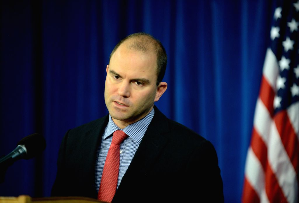White House Deputy National Security Advisor for Strategic Communications Ben Rhodes speaks during a press briefing at the Foreign Press Center in ...
