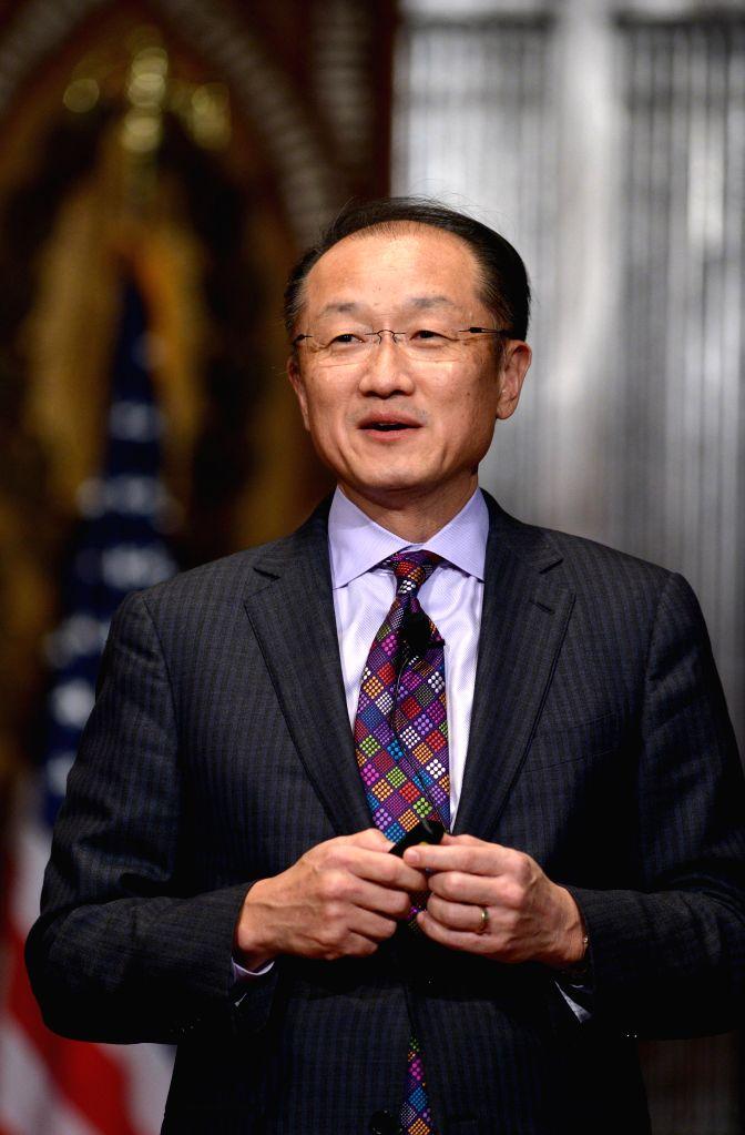 World Bank President Jim Yong Kim speaks at Georgetown University in Washington D.C., capital of the United States, Jan. 27, 2015.