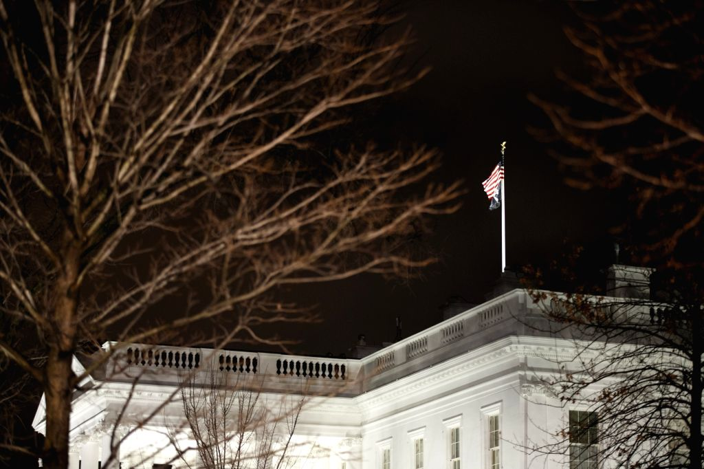 WASHINGTON D.C., Jan. 8, 2020 (Xinhua) -- Photo taken on Jan. 7, 2020 shows the White House in Washington D.C., the United States. Iran launched more than a dozen ballistic missiles against U.S. military and coalition forces in Iraq. (Photo by Ting S
