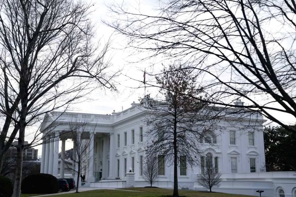 WASHINGTON D.C., Jan. 8, 2020 (Xinhua) -- Photo taken on Jan. 7, 2020 shows the White House in Washington D.C., the United States. Iran launched more than a dozen ballistic missiles against U.S. military and coalition forces in Iraq. (Xinhua/Liu Jie/