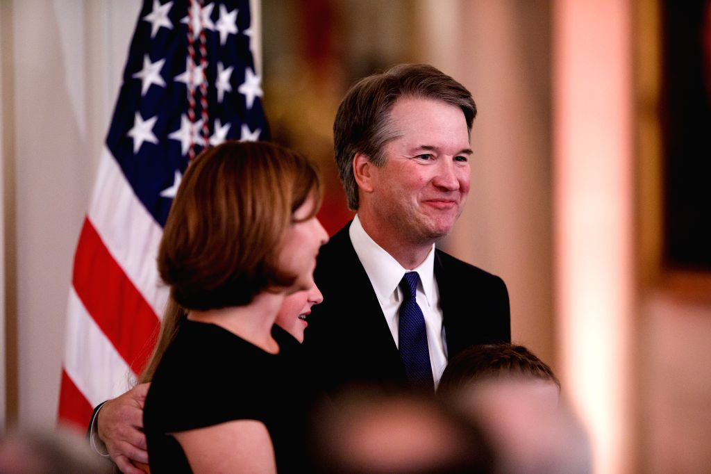 WASHINGTON D.C., July 10, 2018 - Judge Brett Kavanaugh (R) stands with family after U.S. President Donald Trump's announcement of the Supreme Court nominee at the White House in Washington, D.C., the ...