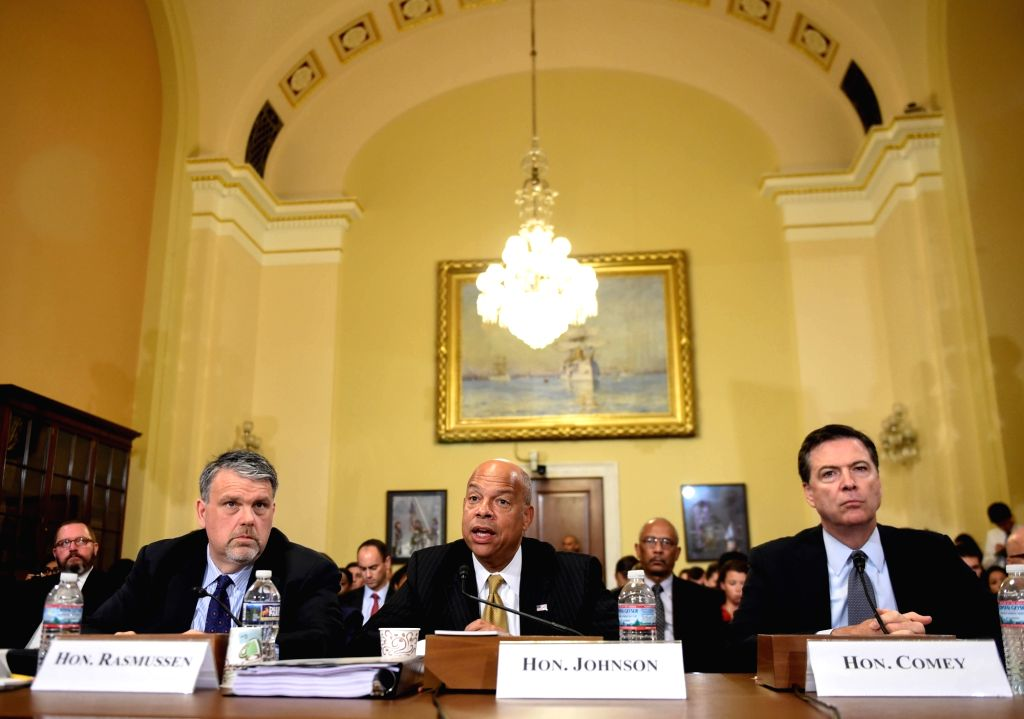 WASHINGTON D.C., July 14, 2016 - U.S. Homeland Security chief Jeh Johnson(C) testifies before the House Homeland Security Committee on Capitol Hill in Washington D.C., capital of the United States, ...
