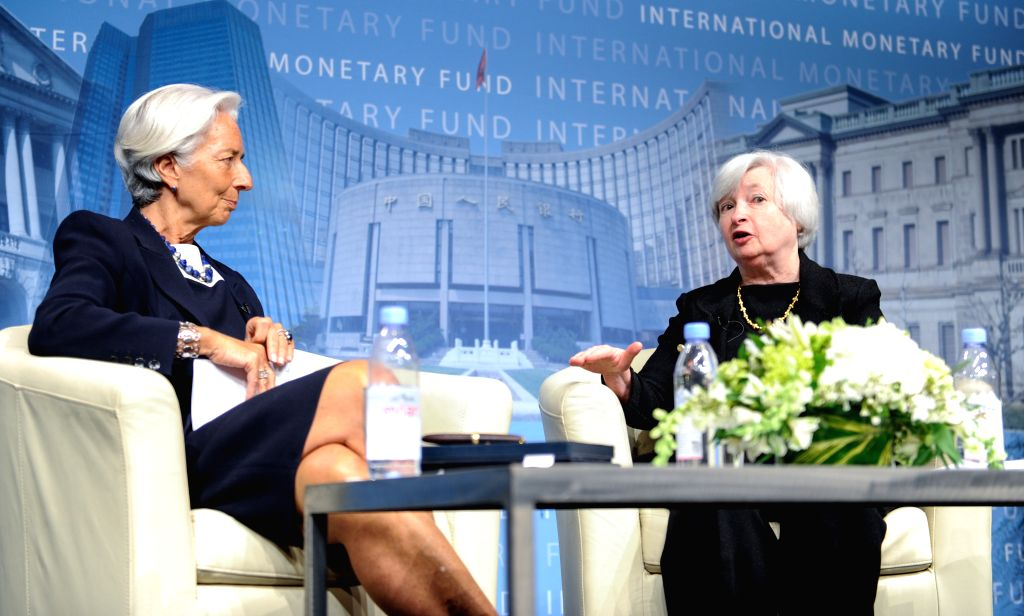 Christine Lagarde (L), Managing Director of the International Monetary Fund (IMF), looks as U.S. Federal Reserve Chair Janet Yellen speaks at the ...