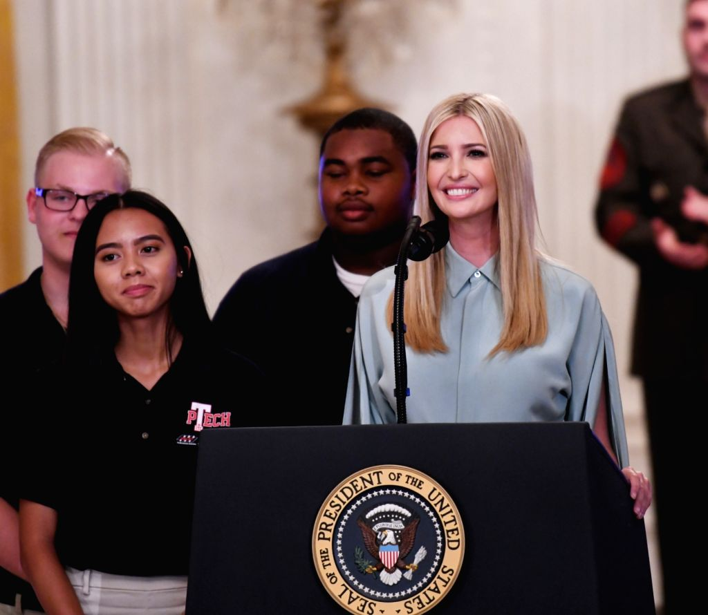 WASHINGTON D.C., July 20, 2018 - Ivanka Trump, U.S. President Donald Trump's daughter, speaks during the Pledge to America's Workers event at the White House in Washington, D.C., the United States, ...