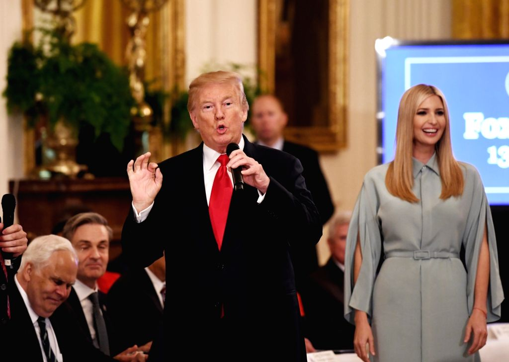 WASHINGTON D.C., July 20, 2018 - U.S. President Donald Trump speaks during the Pledge to America's Workers event at the White House in Washington, D.C., the United States, on July 19, 2018. U.S. ...