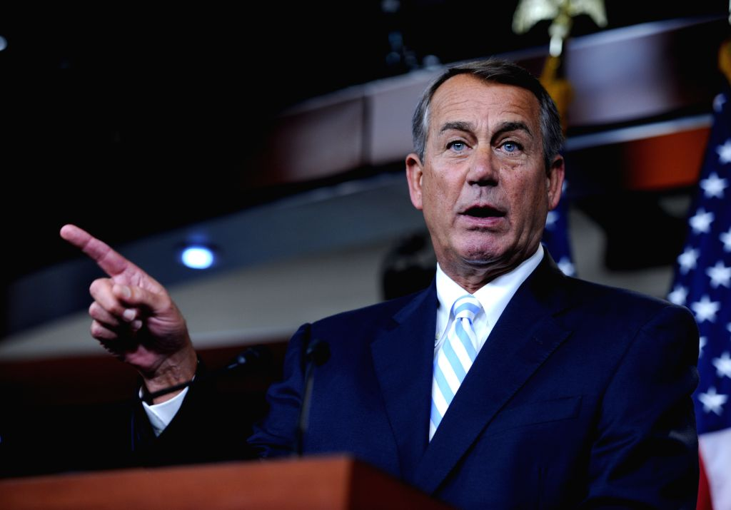 John Boehner, Speaker of the United States House of Representatives, speaks to media on a news conference on Capitol Hill in Washington D.C., capital of the