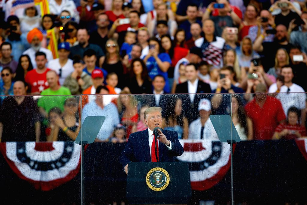 WASHINGTON D.C., July 5, 2019 (Xinhua) -- U.S. President Donald Trump delivers remarks during the Independence Day celebration event at the Lincoln Memorial in Washington D.C., the United States, July 4, 2019. (Xinhua/Ting Shen/IANS)