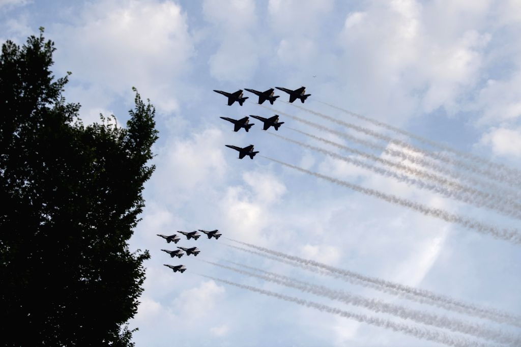 Washington, D.C., July 5, 2020 A formation of planes fly over Washington D.C. area during an air show to celebrate U.S. Independence Day, the United States, July 4, 2020.