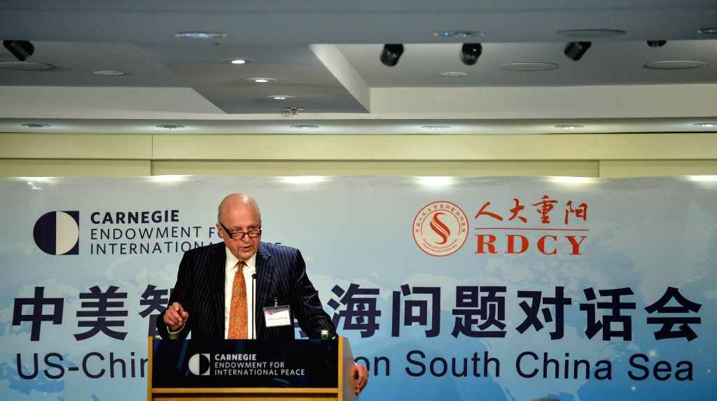 WASHINGTON D.C., July 6, 2016 - Former U.S. Deputy Secretary of State John Negroponte speaks during a dialogue on South China Sea issue in Washington D.C., the United States, July 5, 2016. One week ...