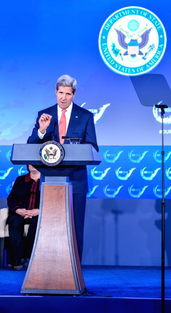 "U.S. Secretary of State John Kerry speaks at the opening session of ""our ocean"" conference at the U.S. Department of State in Washington D.C., the ."