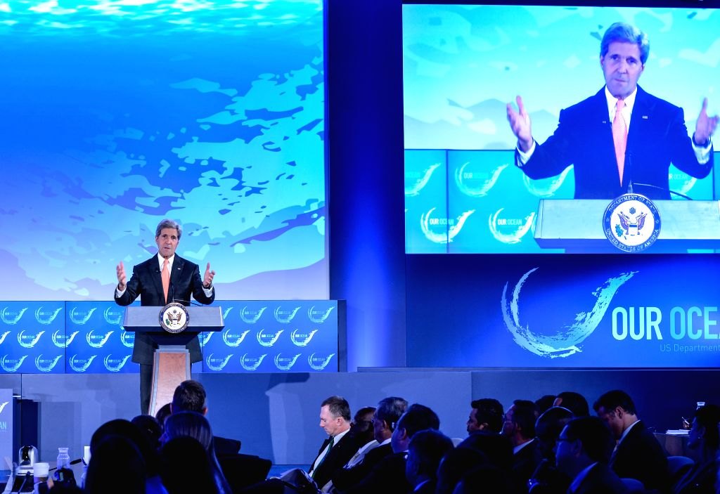 """U.S. Secretary of State John Kerry speaks during """"our ocean"""" conference at the U.S. Department of State in Washington D.C., capital of the United ."""