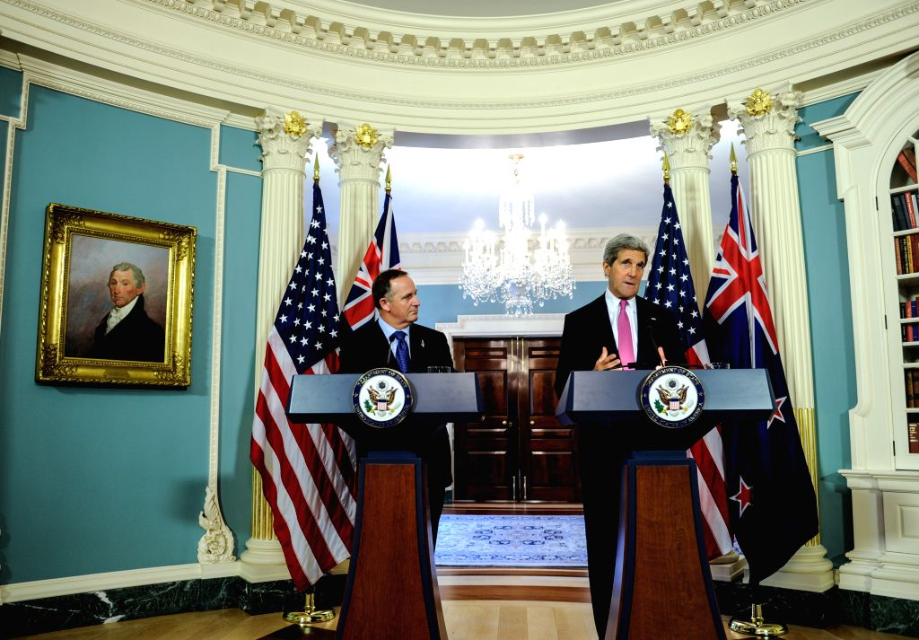 U.S. Secretary of State John Kerry (R) and Prime Minister of New Zealand John Key attend a joint news conference at the State Department in Washington D.C.,