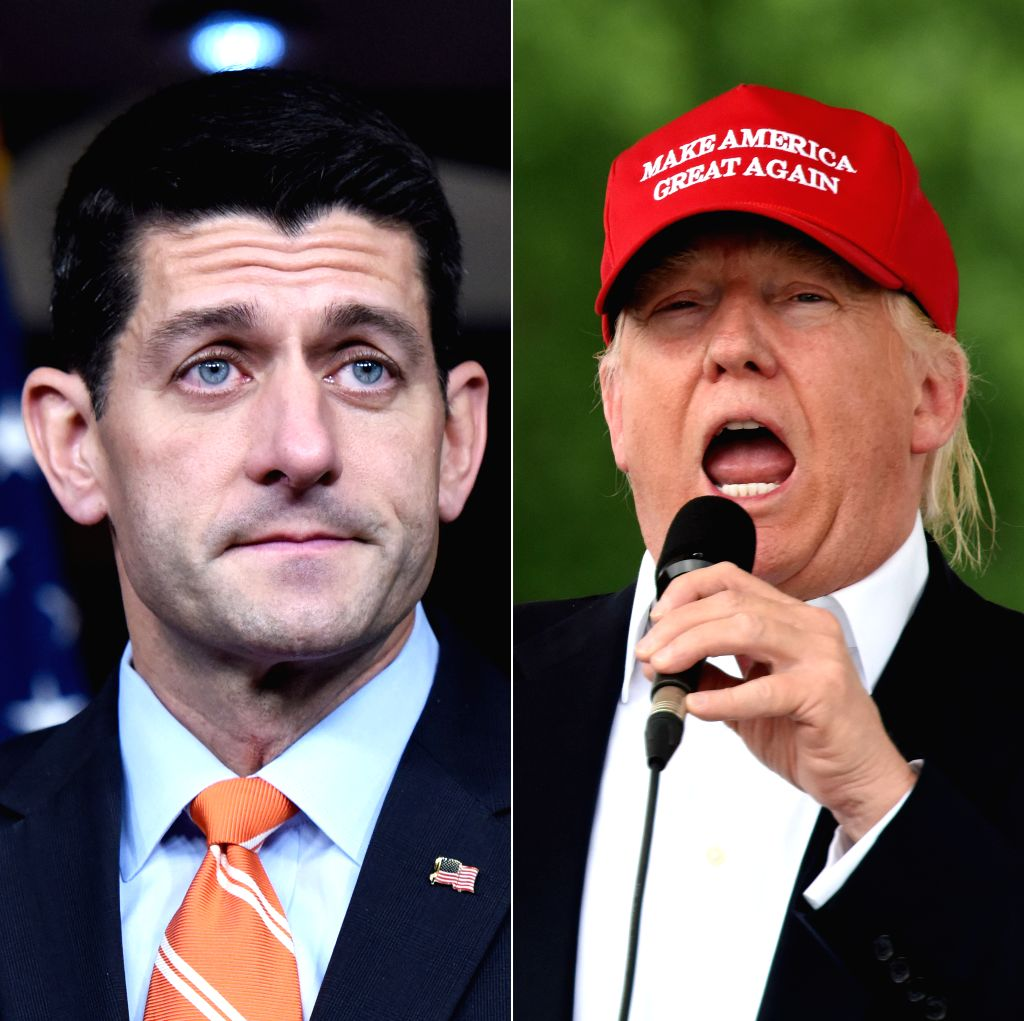 WASHINGTON D.C., June 2, 2016 - Combo photos show U.S. House Speaker Paul Ryan(L) speaking at a news conference at the U.S. Capitol in Washington D.C., the United States on Nov. 5, 2015, and ... - Paul Ryan