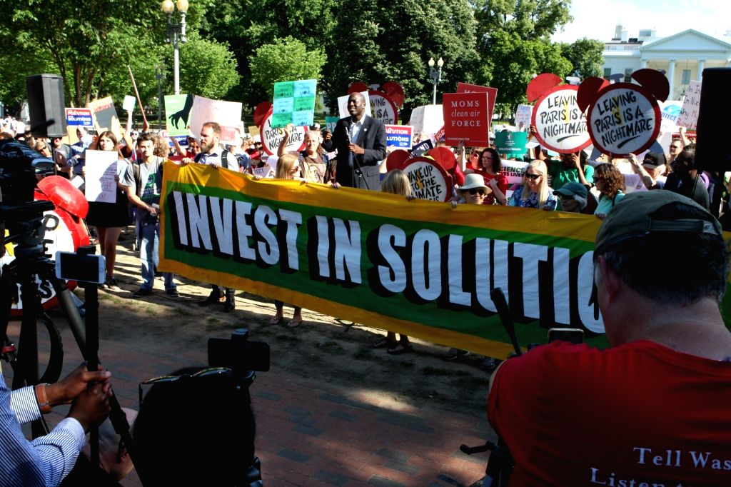 WASHINGTON D.C., June 2, 2017 - A demonstration is held to protest against U.S. President Donald Trump's decision to withdraw from the Paris Agreement, outside the White House in Washington D.C. June ...