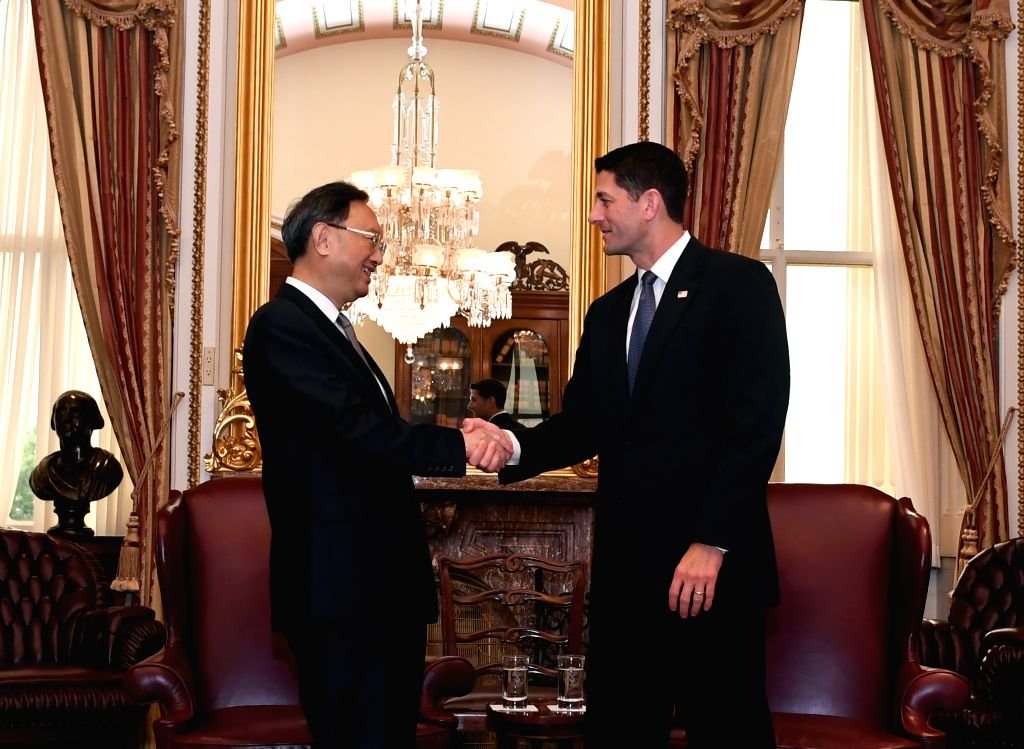 WASHINGTON D.C., June 23, 2017 - Chinese State Councilor Yang Jiechi (L) meets with U.S. House Speaker Paul Ryan in Washington D.C. June 22, 2017. - Paul Ryan