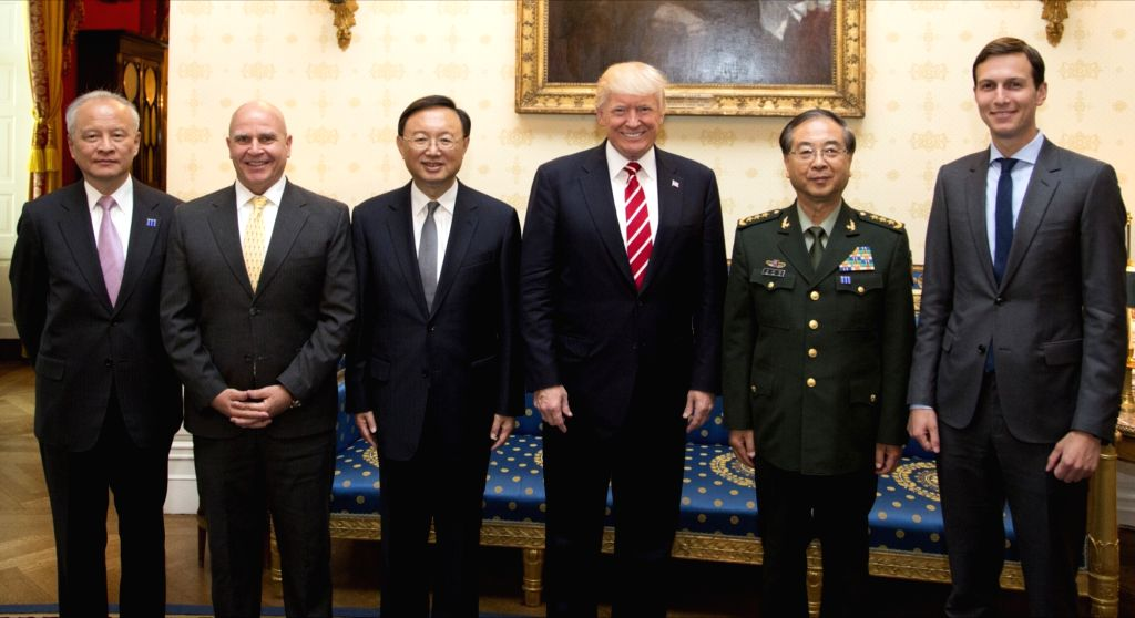 WASHINGTON D.C., June 24, 2017 - U.S. President Donald Trump (3rd R), Chinese State Councilor Yang Jiechi (3rd L), Fang Fenghui (2nd R), a member of China's Central Military Commission (CMC) and ...