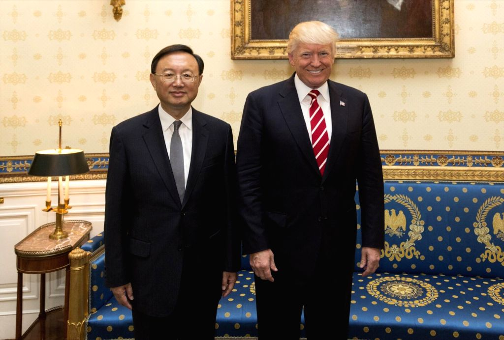 WASHINGTON D.C., June 24, 2017 - U.S. President Donald Trump (R) meets with Chinese State Councilor Yang Jiechi in Washinton D.C. June 22, 2017. Yang Jiechi was in Washinton D.C. to attend the first ...