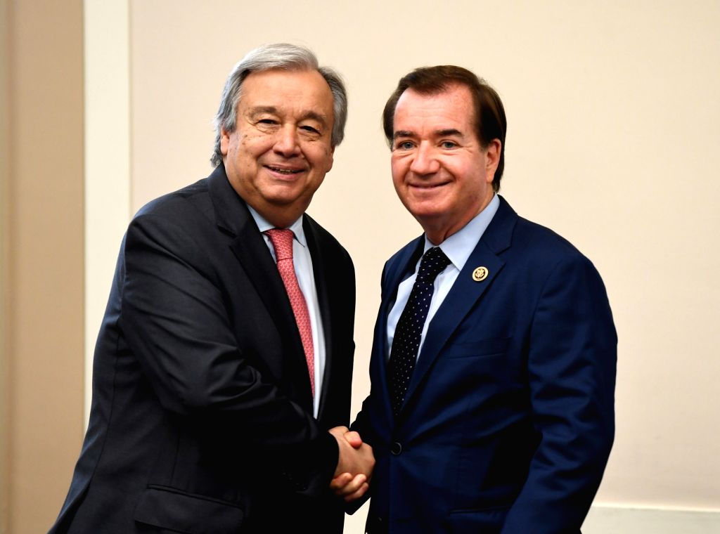 WASHINGTON D.C., June 27, 2017 - United Nations Secretary-General Antonio Guterres (L) shakes hands with House Foreign Affairs Committee Chairman Edward Royce on Capitol in Washington D.C., the ...