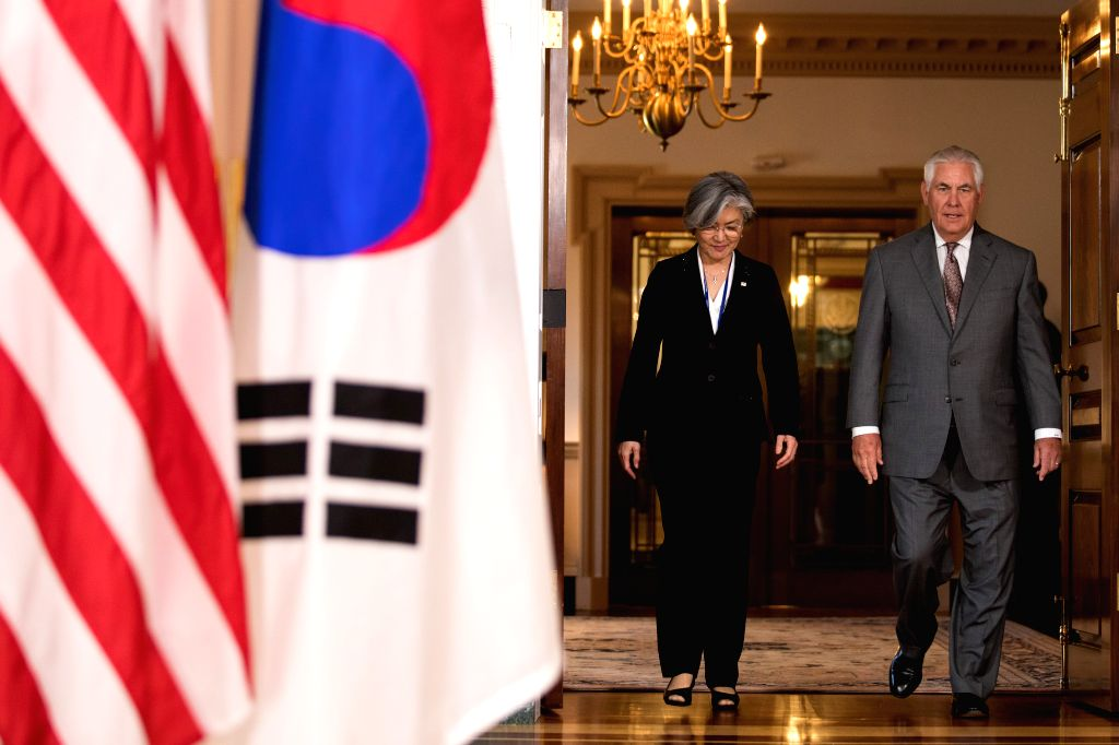 WASHINGTON D.C., June 29, 2017 - U.S. Secretary of State Rex Tillerson (R) meets with South Korean Foreign Minister Kang Kyung-wha in Washington D.C., the United States, June 28, 2017. - Kang Kyung