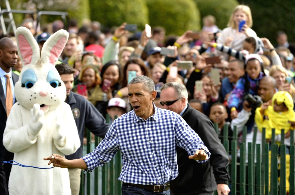 WASHINGTON D.C., March 28, 2016 - U.S. President Barack Obama attends the White House Easter Egg Roll at the White House in Washington D.C., the United States on March 28, 2016. Over 30,000 people ...