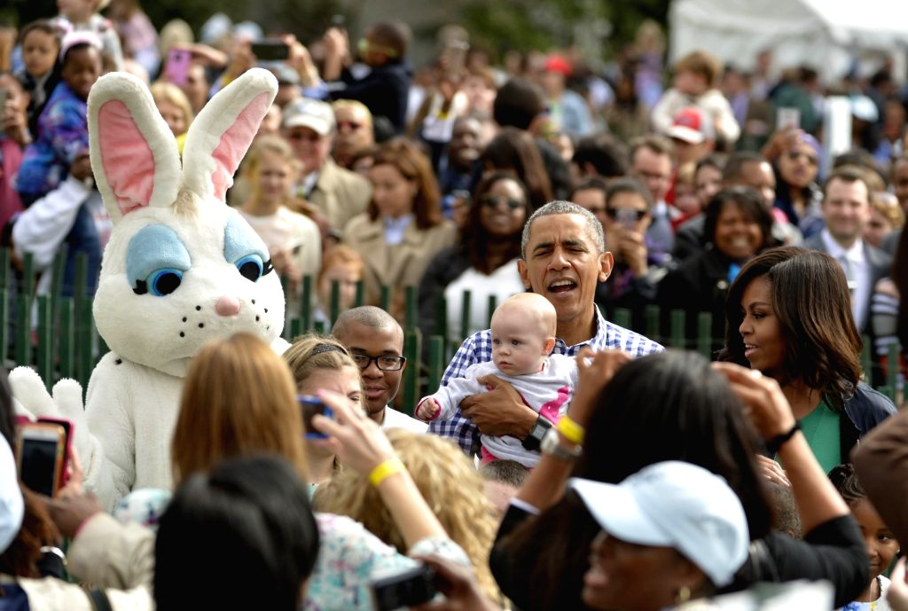 WASHINGTON D.C., March 28, 2016 - U.S. President Barack Obama and first lady Michelle Obama attend the White House Easter Egg Roll at the White House in Washington D.C., the United States on March ...