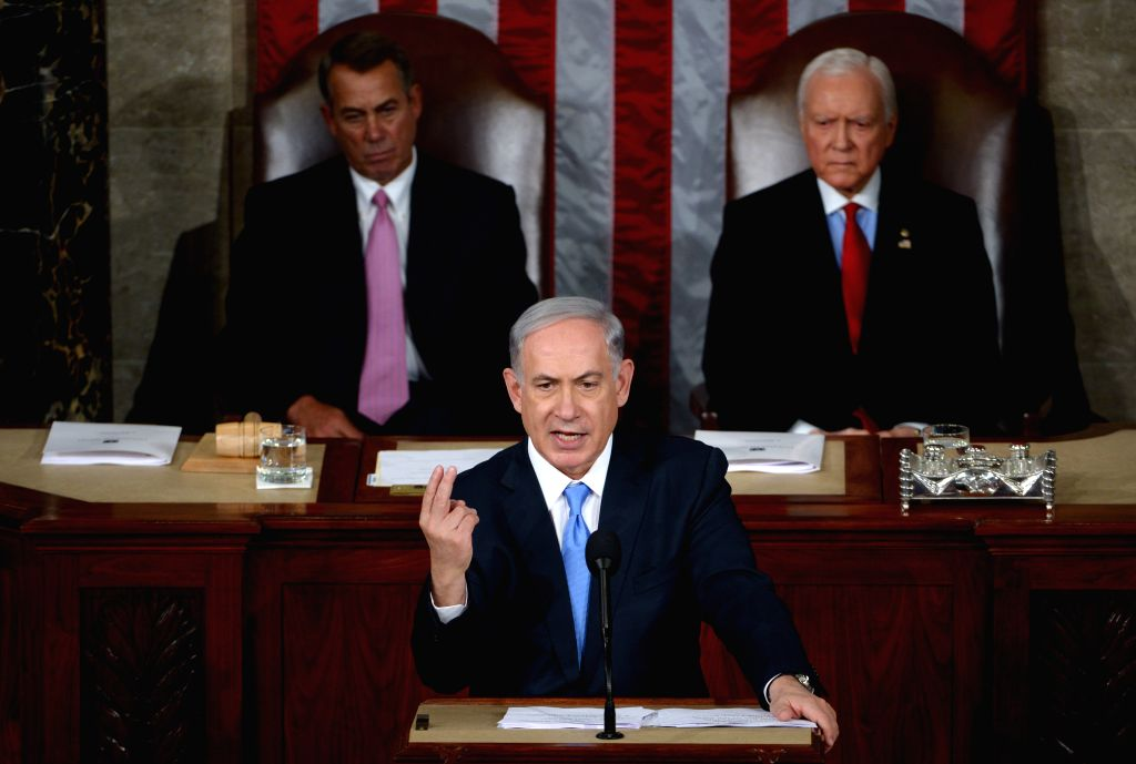 Israeli Prime Minister Benjamin Netanyahu (C) addresses a joint meeting of Congress on Capitol Hill in Washington D.C., the United States, March 3, 2015. ... - Benjamin Netanyahu