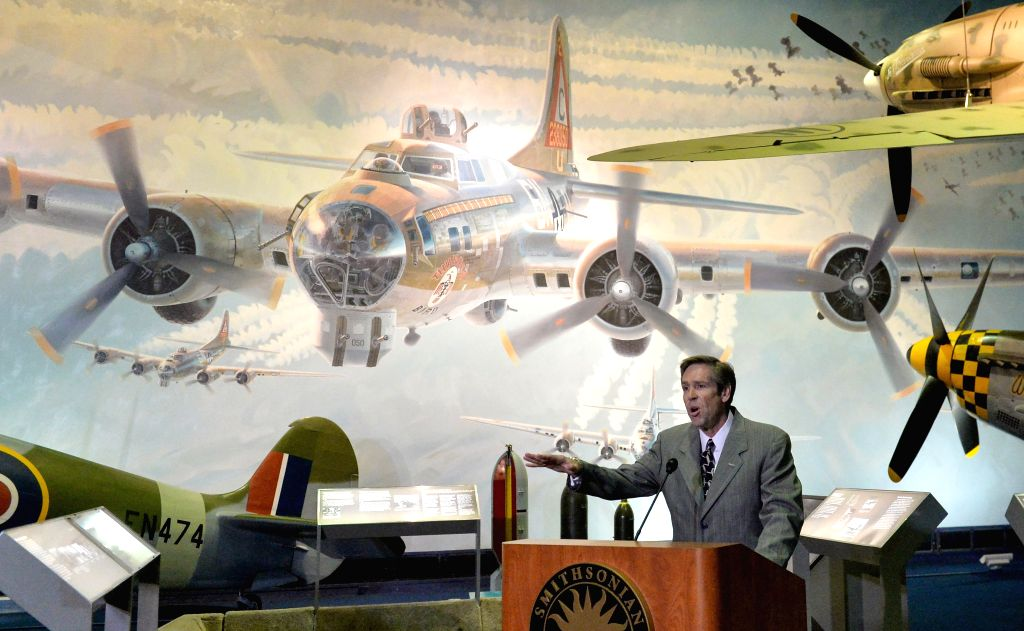 President and CEO of Commemorative Air Force Stephan Brown speaks during the press briefing of Arsenal of Democracy: World War II Victory Capitol Flyover ...