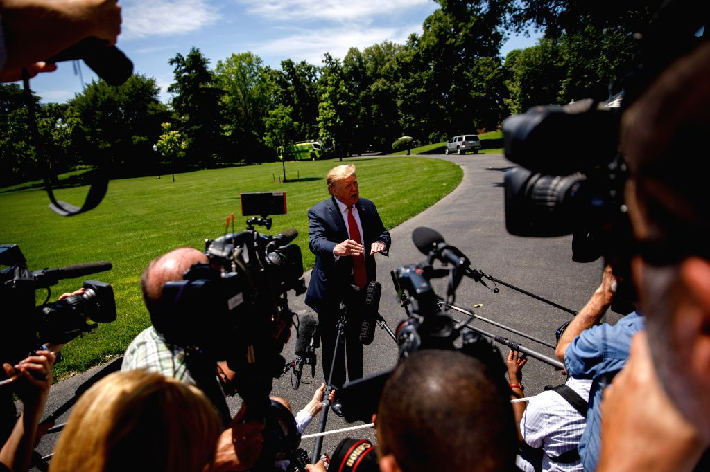 WASHINGTON D.C., May 25, 2019 - U.S. President Donald Trump speaks to reporters before leaving the White House in Washington D.C., the United States, on May 24, 2019. Donald Trump said on Friday that ...